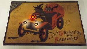 New Flickering Light Witch And Black Cat Driving Car Canvas X46747 New Lights Up