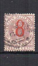 Malaysia - Straits Settlements 1884 8c surcharge FU CDS