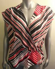 Chaps Top Blouse Size XL Sleeveless Red Black White Polyester