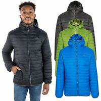 Trespass Dunbar Men Lightweight Padded Jacket with Hood in Black Blue & Fern