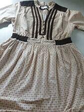 Size UK 10/12 L 30 Bershka país 70s Estilo Vintage Vestido de algodón elástico en la cintura