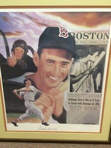 Ted Williams Autographed Framed L.E. Lithograph by Michael Elins