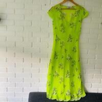 Bernadette BNWOT Green Neon Floral Zoe Shift Midi dress rrp £780 uk 8 f 36 us 4