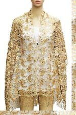 Gold Cute Sequin Lace Paisley Swirl Floral Evening Elegant Scarf Shawl Wrap NEW