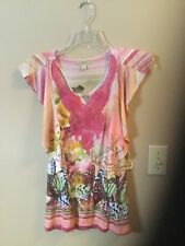 NWT One World Butterfly Top M Bat Wing Sleeve Lace Appliqué Embellished Pink