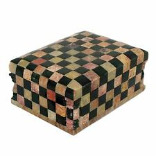 Chess Board Checkers Hand Carved Marble Art Jewelry Box NOVICA India