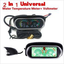 2IN1 12v 24v Car Truck Water Temperature Gauge Meter + Voltmeter Voltage Gauge