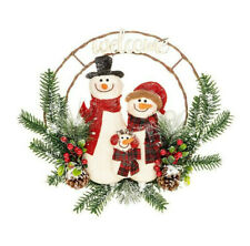 Christmas Decoration Large Hanging Jolly Snowman Family Wreath 202033
