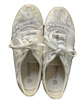 White Stag Women's White Canvas Lace Up Sneakers 6.5 Shoes Hand Drawn Designs