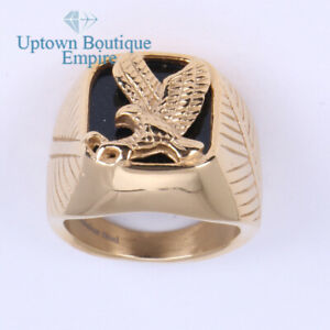Black Onyx Eagle Men's Stainless Steel Ring Band Size:8-13#C