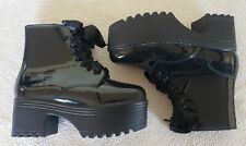Jeffrey Campbell Black Patent Leather Platform Lace Up Chunky Boots sz 9