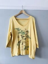 Evans Size 20 Yellow Cotton V Neck Top With Stunning Butterfly Detail