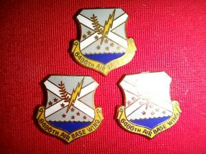 Group Of 3 US AIR Force 6486th AIR BASE WING Metal Pins With Flat Backs