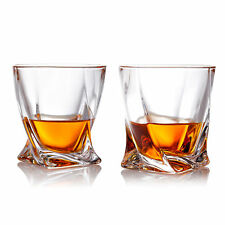 MyGift Set of 2 Twist Design Clear Glasses Old Fashioned Whiskey Tumblers - 10oz