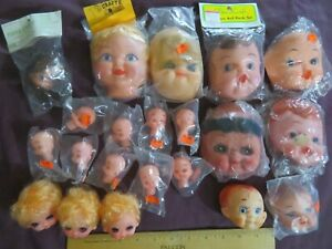 Vintage Lot 21+ Doll Faces & Parts Plastic Mixed Craft Baby Kids Old Stock NR
