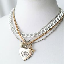 Juicy Couture White Silver Gold Chain Charms Necklace w/Box  HTF!