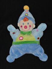 Peluche doudou lutin clown semi plat NICOTOY vert bleu noeud grelot 25 cm TTBE
