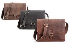 PACKENGER Aslang Umhängetasche Messenger Bag bis 13,5 Zoll aus Leder 35x30x10cm