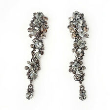 Grey Prom Jewelry Valentines Gift Metallic Gray Crystal Long Statement Earrings