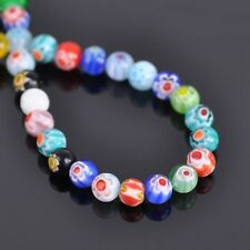 100pcs 6mm Mixed Round Loose Millefiori Glass Spacer Craft Charms Beads 1#