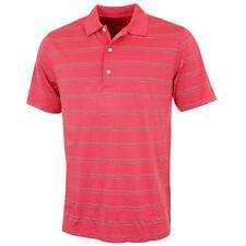 Greg Norman Hombre Estacional Micro Pique Camiseta Polo de Rayas - Coral