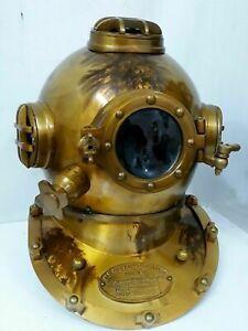 Rare Size 18'' US Navy Mark V Solid Steel Diving Divers Helmet Maritime Replica