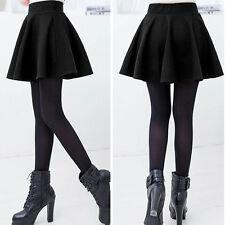 Women's Mini Skirt Vintage Stretch High Waist Plain Skater Flared Pleated OE