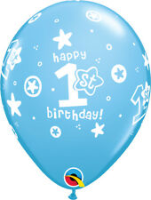5 Blue or Pink Happy 1st First Birthday Helium / Air Balloons Party Decorations