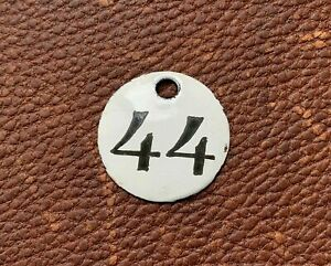 Number 44 Vintage Enamel Train Seat Numbers from Europe Lucky Number House Room