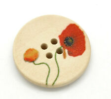 15 WOODEN POPPY PAINTED BUTTONS 25mm ~ Sewing ~ embellishment ~ jewellery  (71A)