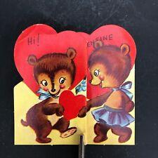 Vtg Valentines Card 40s 50s Bear Boy Girl Fold Out Die Cut Ephemera Greeting