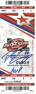 PATRICK SHARP IP AUTO SIGNED 2011 NHL ALL STAR TICKET W MVP INSC BLACKHAWKS BAS