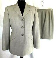 Classiques Entier Petite Womens Light Grey Wool & Poly Skirt Suit 10P-8P
