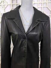 LADY HATHAWAY WOMEN'S 100% LEATHER BLACK LEATHER COAT SIZE L