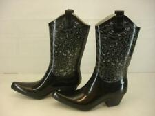 Womens 10 M Western Chief Cheetah Hybrid Western Charcoal Black Rain Boots Tall