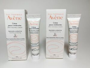 LOT 2 Avene Skin Recovery Cream Travel Deluxe Sample Size 5mL .10 Oz Sensitive