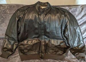 L.L. Bean Bomber Flight Jacket A-2 Style Leather XXL TALL Thinsulate Wool Trim
