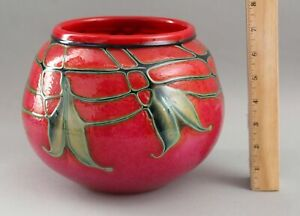 RARE Large Signed 1994 Charles Lotton Selenium Red Art Glass Bowl Ball Vase