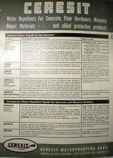 Ceresit Waterproofing Corp. Catalog ASBESTOS Roof Coating & Asphalts 1954