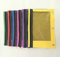 24 Pack 3-Ring Pencil Pouch Case Zippered Mesh Window Bright (Colors may vary)