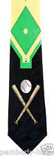 New Baseball Field Mens Necktie Diamond Bat Coach Gift Team Fan Black Neck Tie
