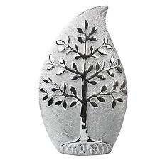 25cm Tree of Life Leaf Shape Silver Art Vase Decor Brushed Style Table Ornament