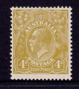 Australia KGV Head SMW P13½ - 4d Yellow Olive MLH SG 102