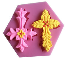 Holly Communion Silicone Cross Christening Baby Baptism icing fondant mould