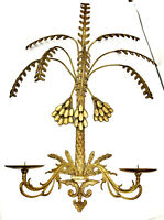 Vtg ORNATE Brass Palm Tree Fronds 3D Wall Sconce 2-Arm Candle Hollywood Regency