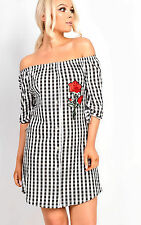 IKRUSH Women's Gina Gingham Embroidered Bardot Knot Sleeve Dress  in