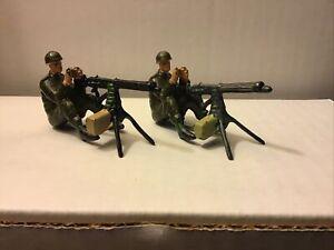 TWO (2) VINTAGE W. BRITAIN WWI BRITISH INFANTRY SITTING with MACHINE GUNS