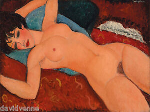 Amedeo Modigliani's Nu Couché Nude Woman on Couch 30 x 40 inch canvas print