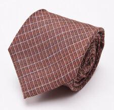 New $225 BORRELLI NAPOLI 7-Fold Silk Tie Rust Brown-Sky Blue Woven Check