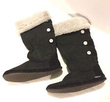 Muk Luks Women's Tall Fur Boot Slipper Black Sz 8-9